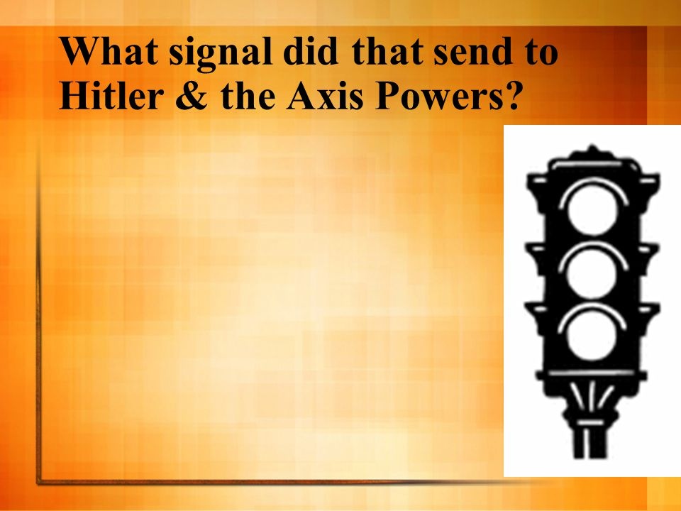 What signal did that send to Hitler & the Axis Powers