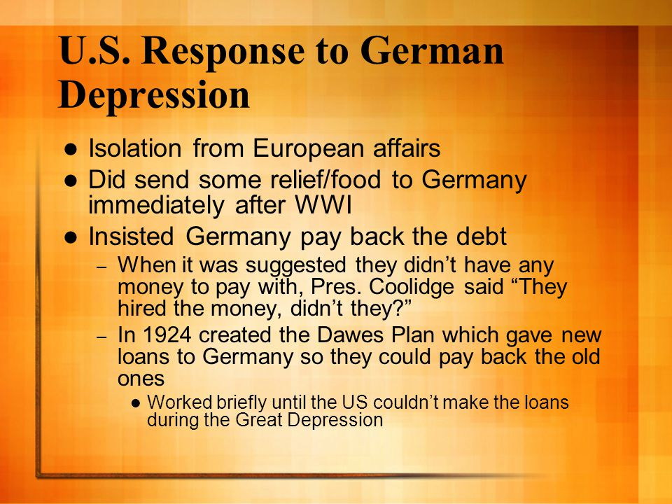 U.S. Response to German Depression