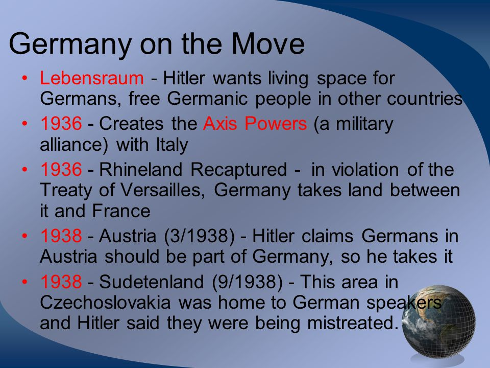 Germany on the Move Lebensraum - Hitler wants living space for Germans, free Germanic people in other countries.