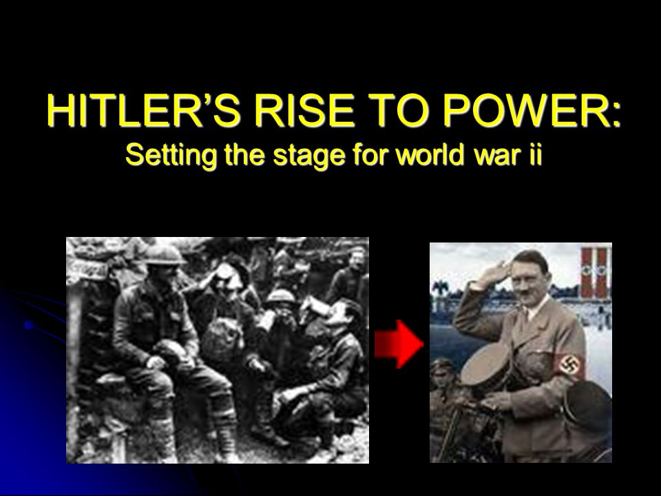 HITLER'S RISE TO POWER: Setting the stage for world war ii