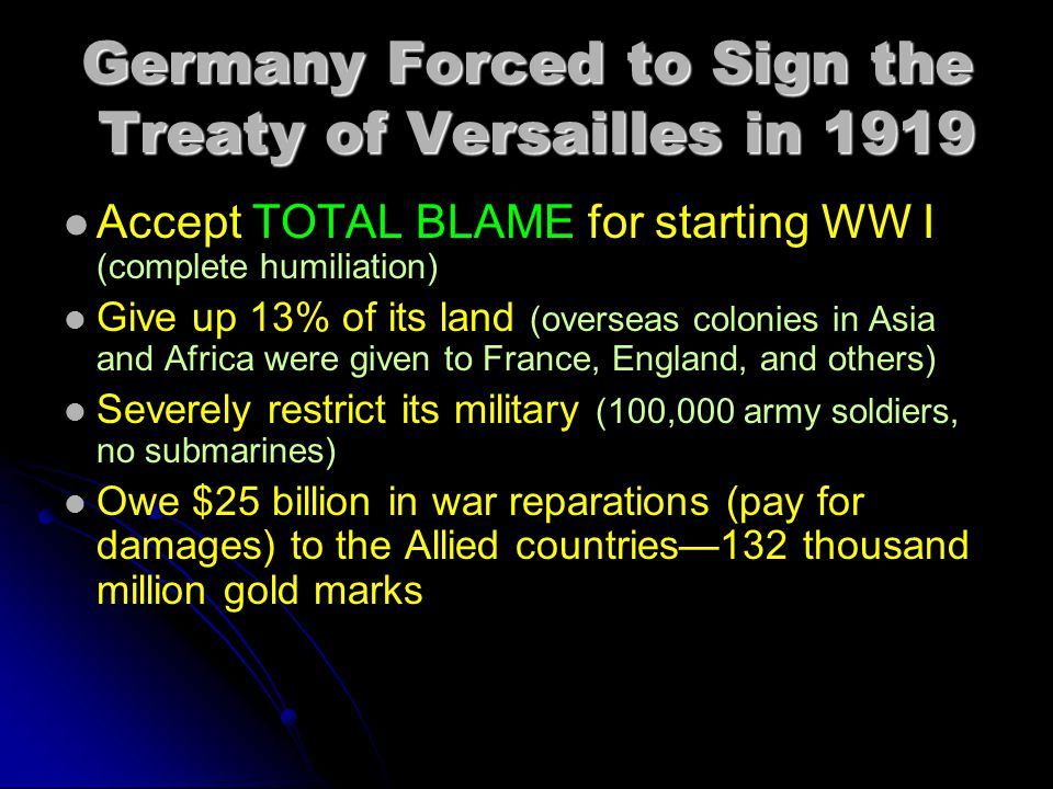 Germany Forced to Sign the Treaty of Versailles in 1919