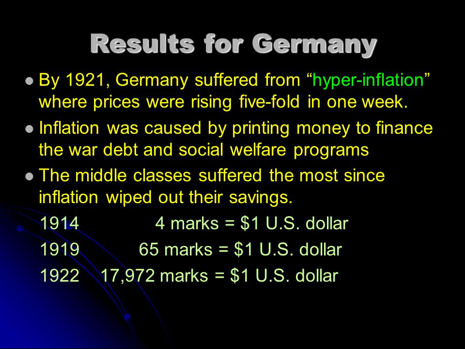 Results for Germany By 1921, Germany suffered from hyper-inflation where prices were rising five-fold in one week.