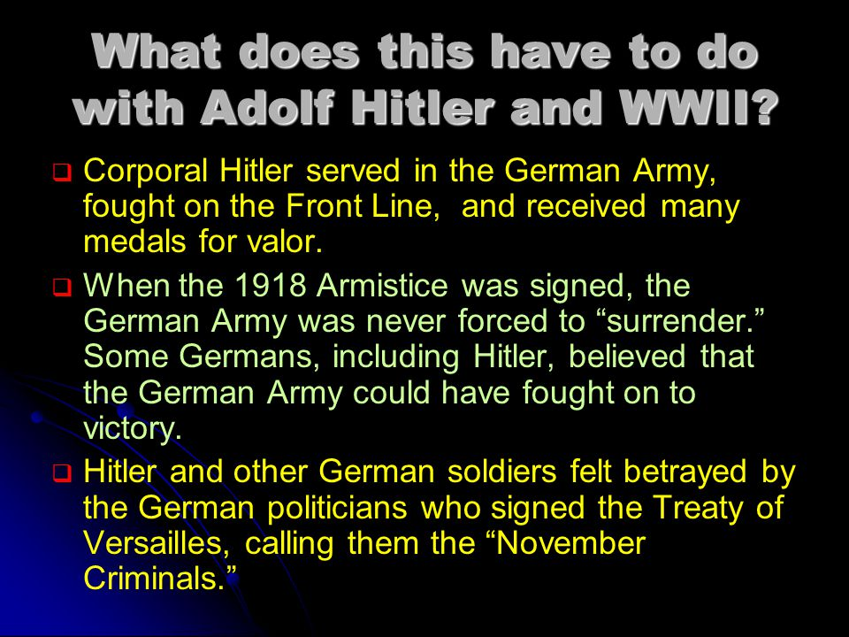 What does this have to do with Adolf Hitler and WWII