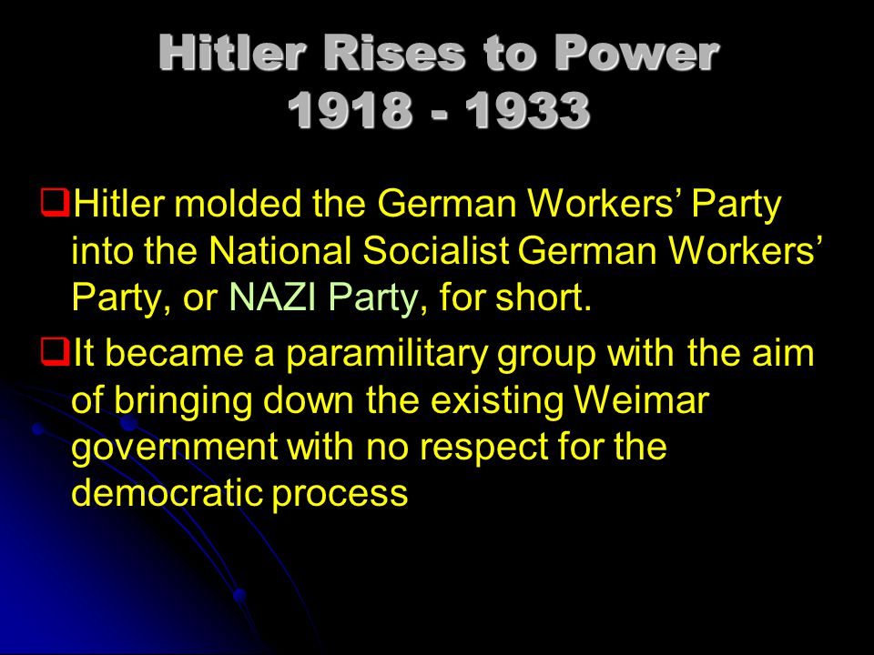 Hitler Rises to Power 1918 - 1933