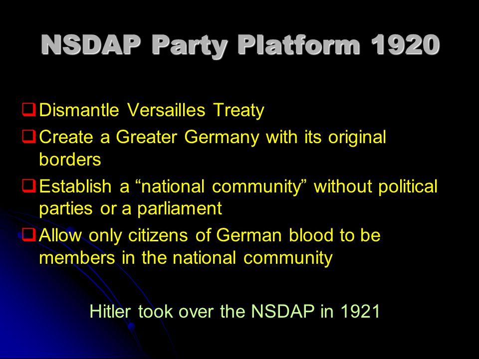 Hitler took over the NSDAP in 1921