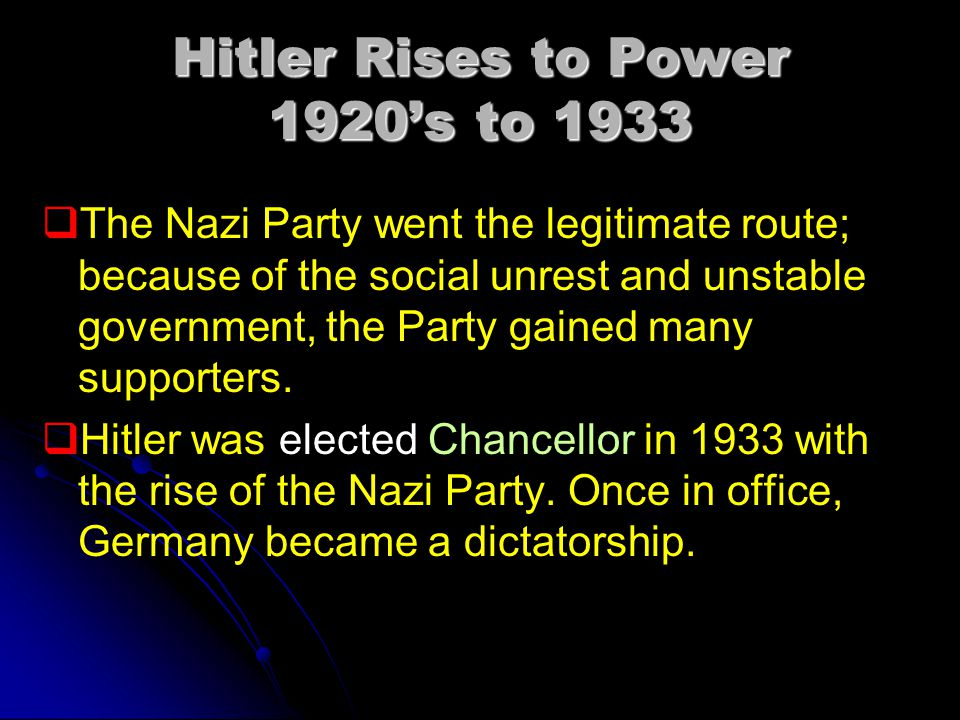 Hitler Rises to Power 1920's to 1933