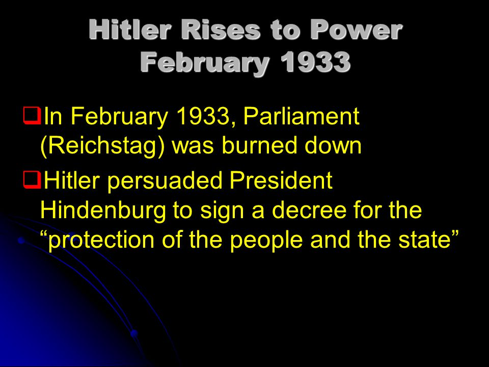 Hitler Rises to Power February 1933