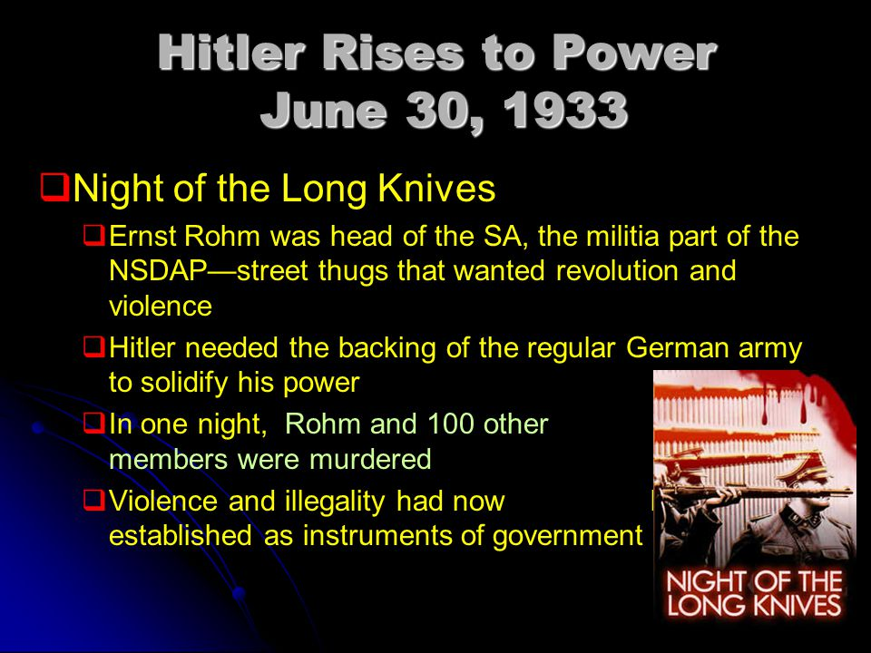 Hitler Rises to Power June 30, 1933