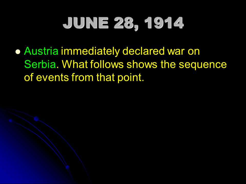 JUNE 28, 1914 Austria immediately declared war on Serbia.