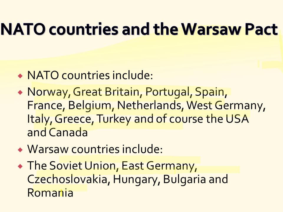 NATO countries and the Warsaw Pact