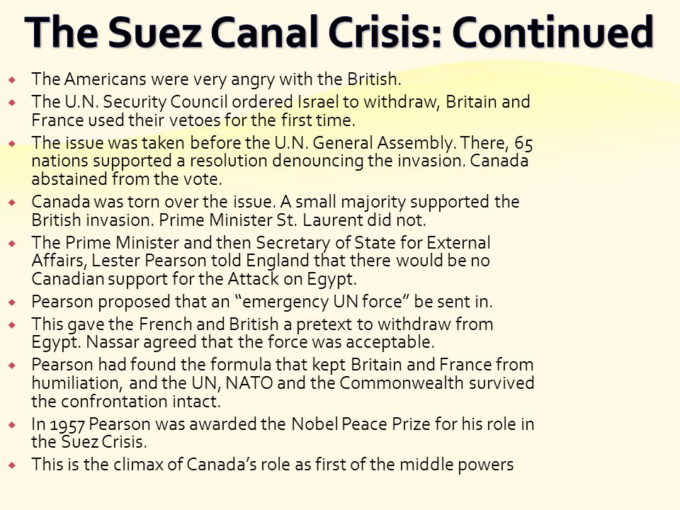 The Suez Canal Crisis: Continued