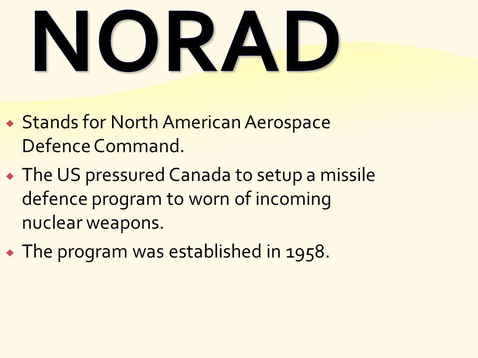 NORAD Stands for North American Aerospace Defence Command.