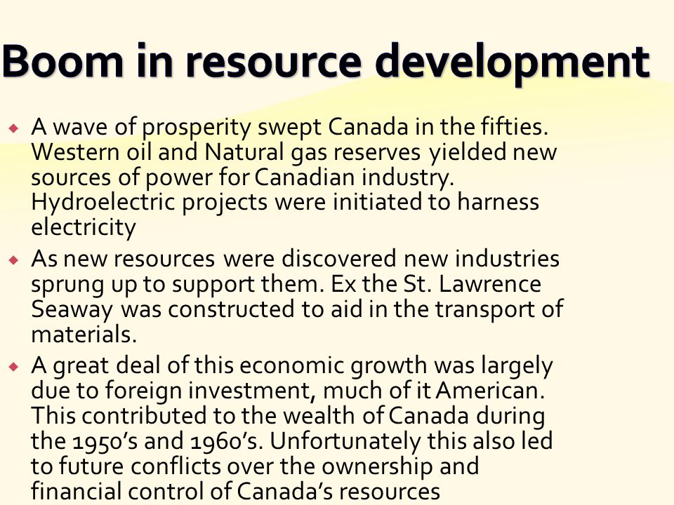 Boom in resource development