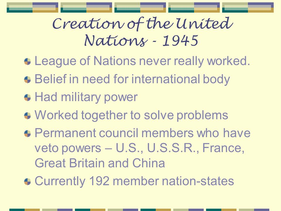 Creation of the United Nations - 1945