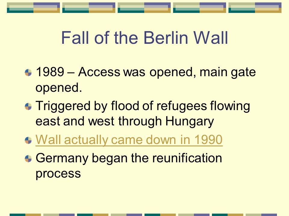 Fall of the Berlin Wall 1989 – Access was opened, main gate opened.