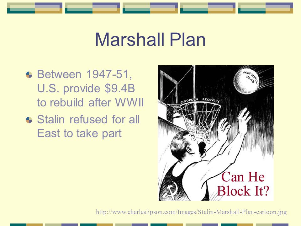 Marshall Plan Between 1947-51, U.S. provide $9.4B to rebuild after WWII. Stalin refused for all East to take part.