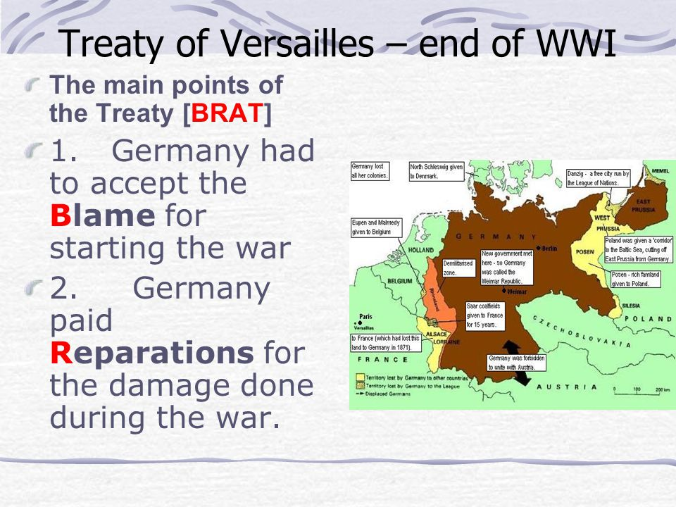 Treaty of Versailles – end of WWI