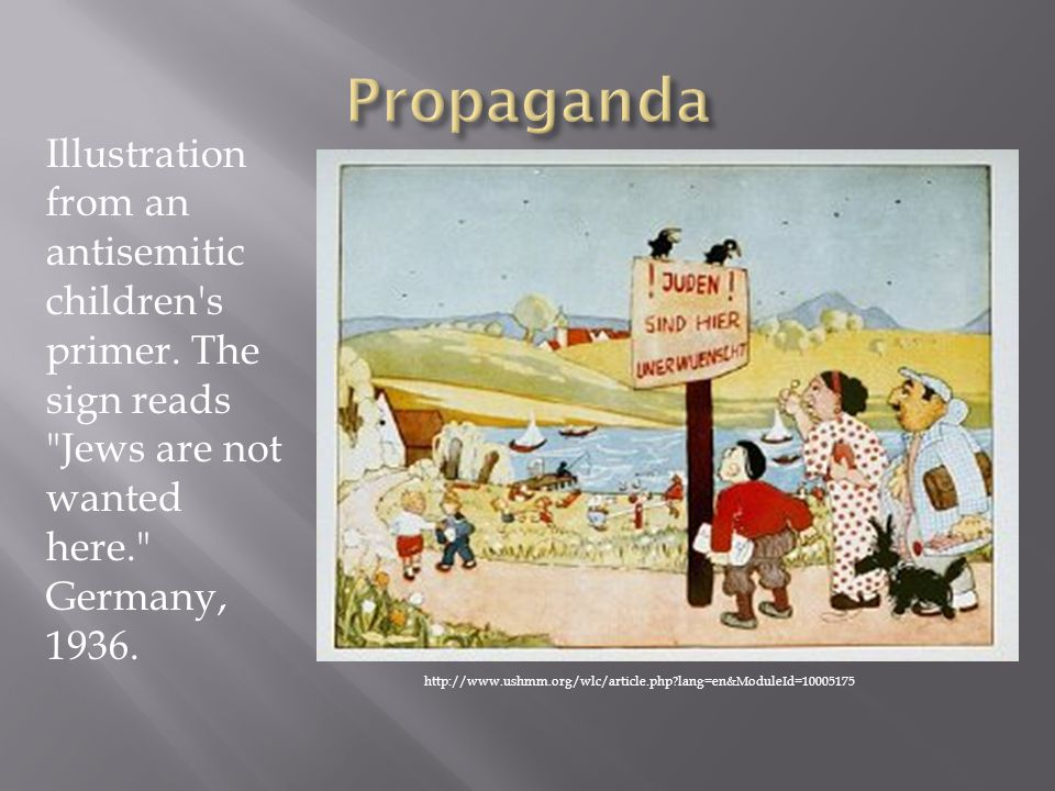 Propaganda Illustration from an antisemitic children s primer. The sign reads Jews are not wanted here. Germany, 1936.