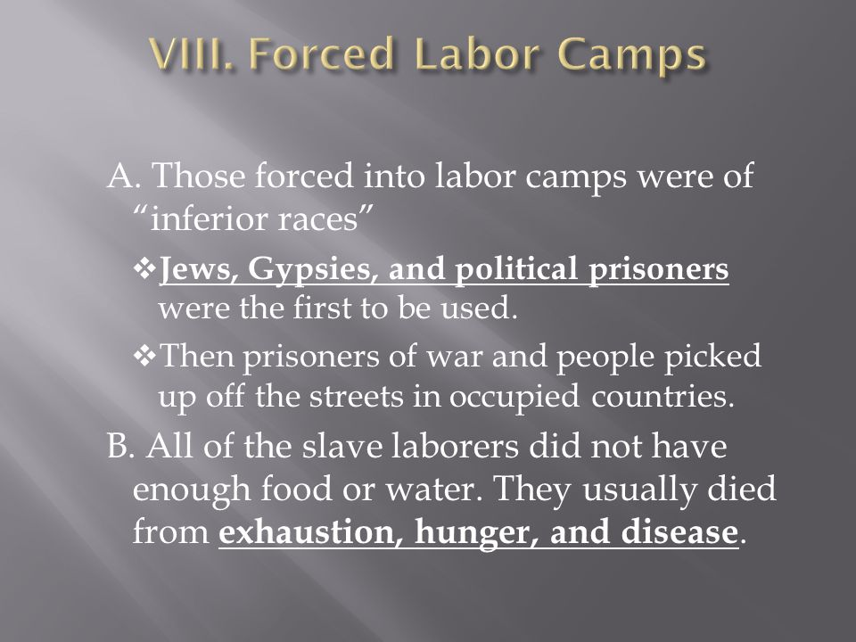 VIII. Forced Labor Camps