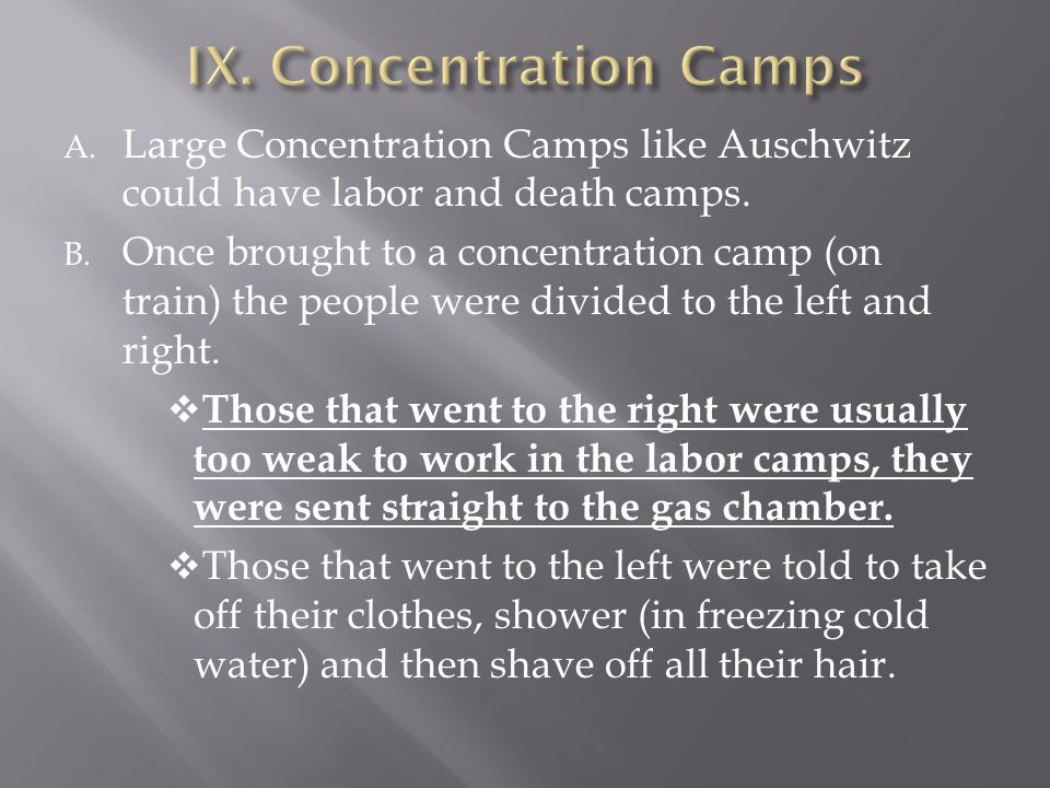 IX. Concentration Camps