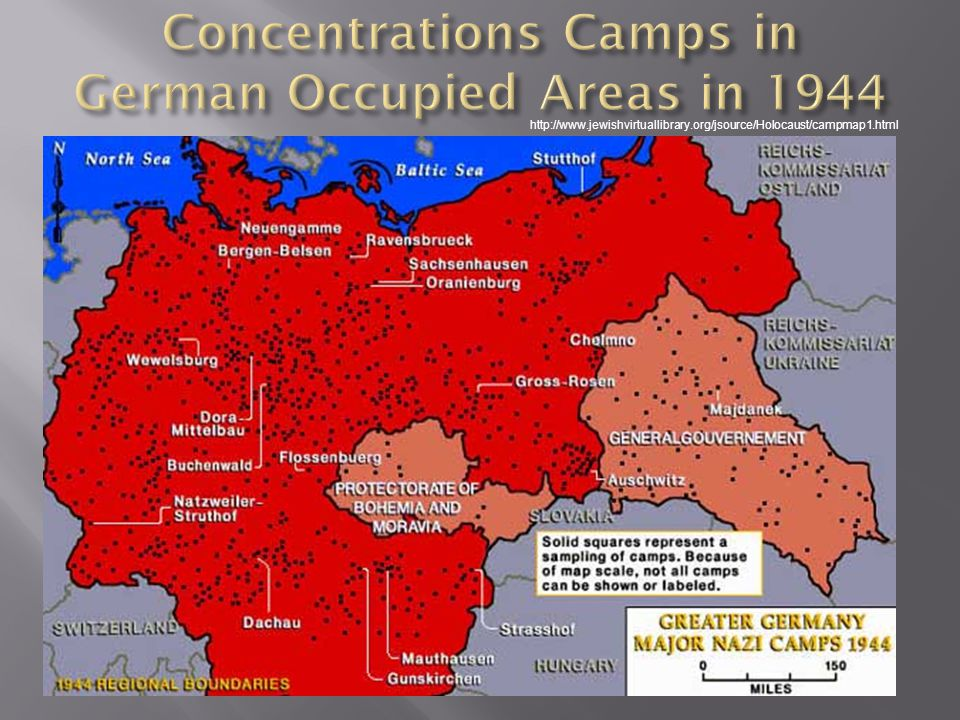 Concentrations Camps in German Occupied Areas in 1944