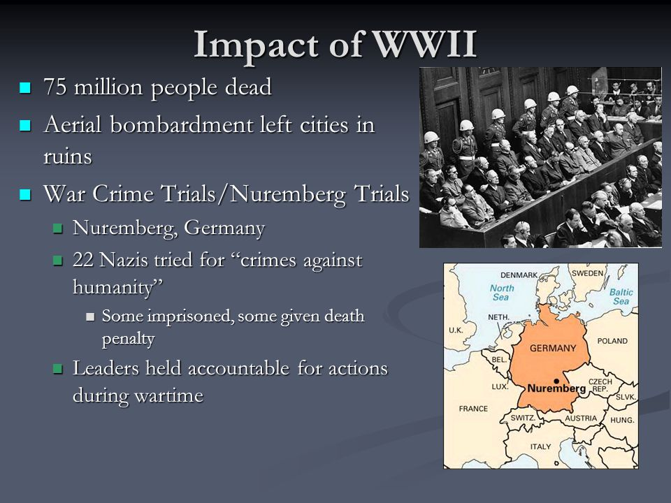 Impact of WWII 75 million people dead