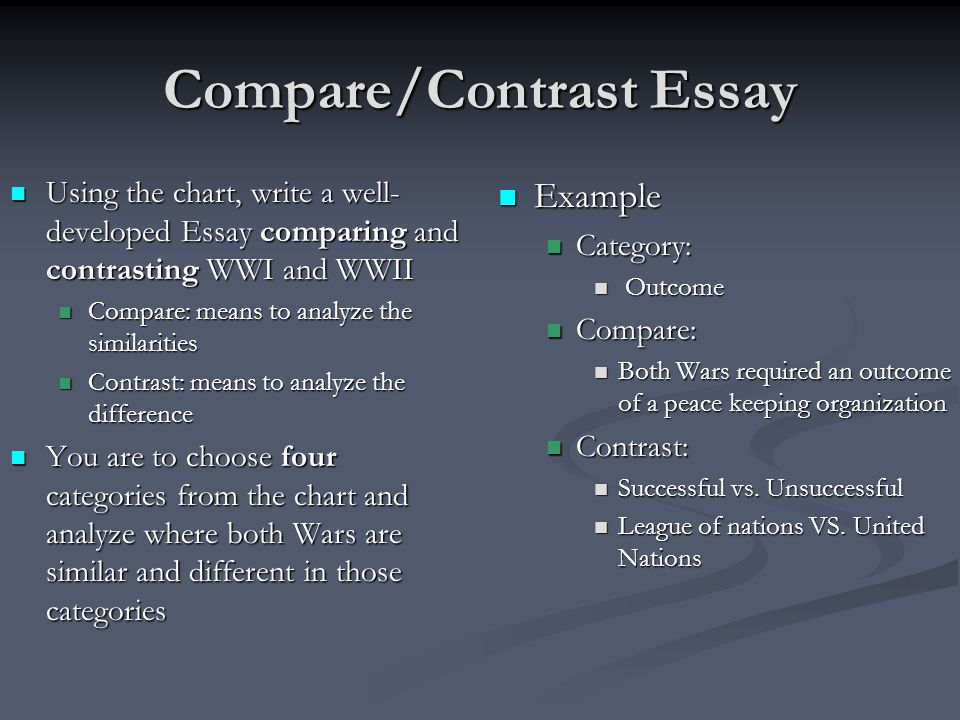 compare and contrast essay on experiences