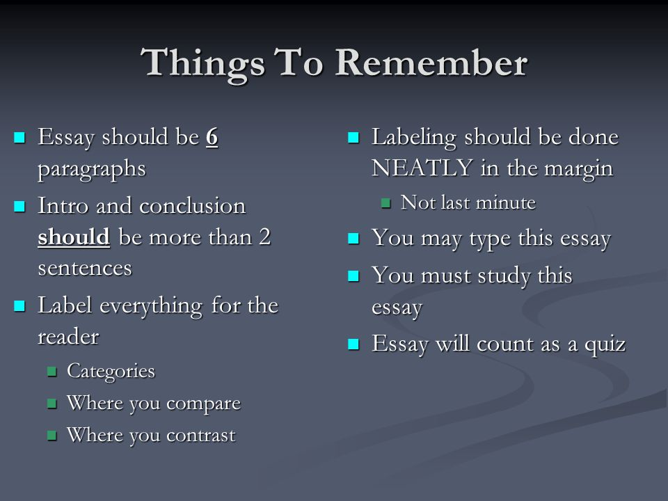Things To Remember Essay should be 6 paragraphs