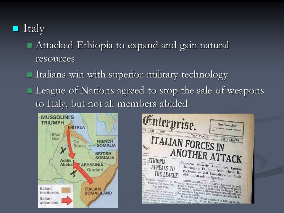 Italy Attacked Ethiopia to expand and gain natural resources