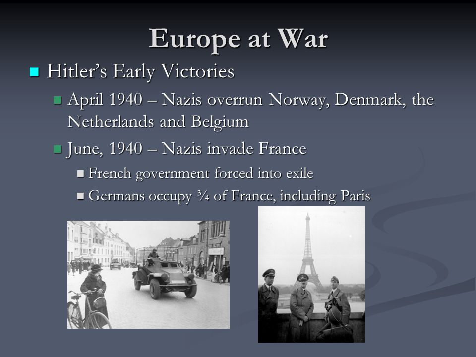 Europe at War Hitler's Early Victories