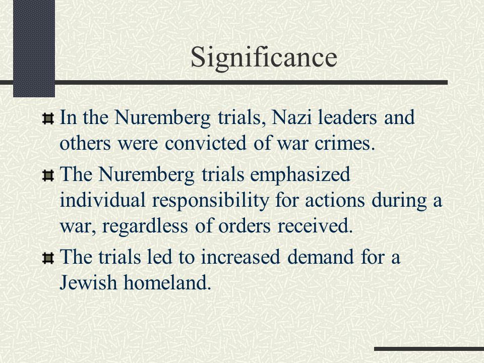 Significance In the Nuremberg trials, Nazi leaders and others were convicted of war crimes.