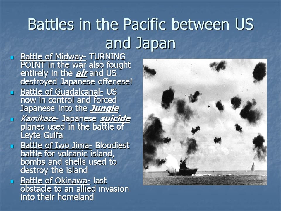 Battles in the Pacific between US and Japan