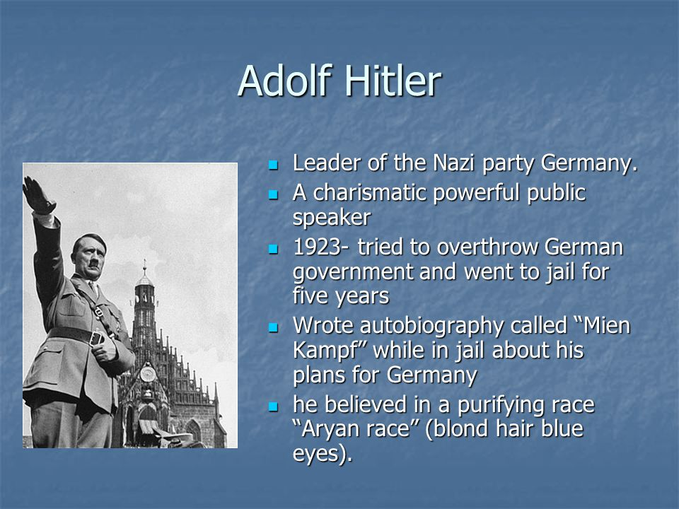 Adolf Hitler Leader of the Nazi party Germany.