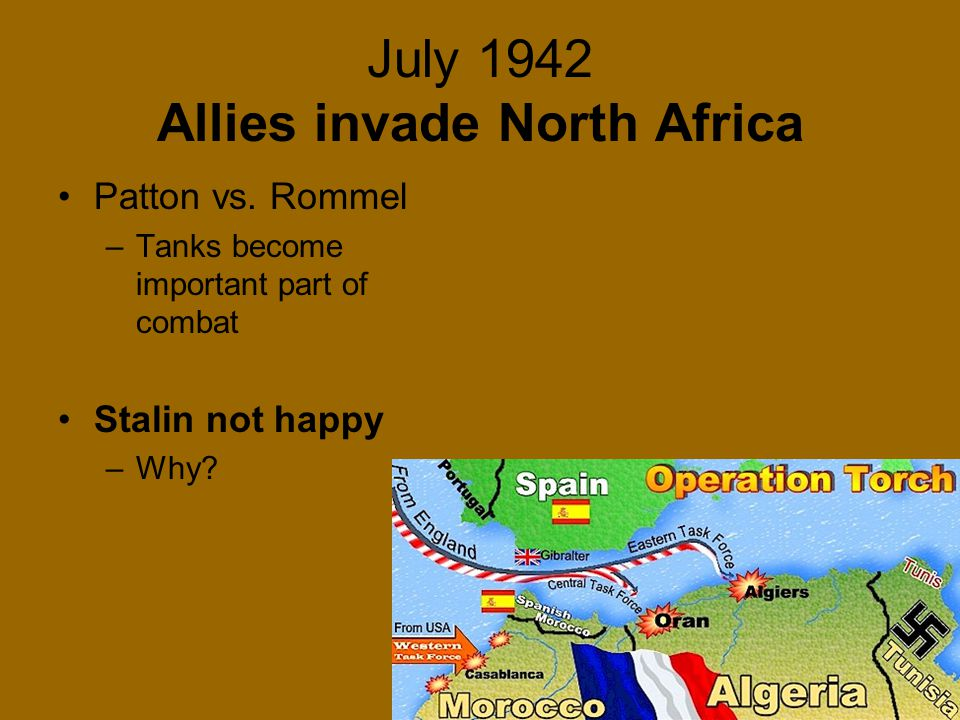 July 1942 Allies invade North Africa