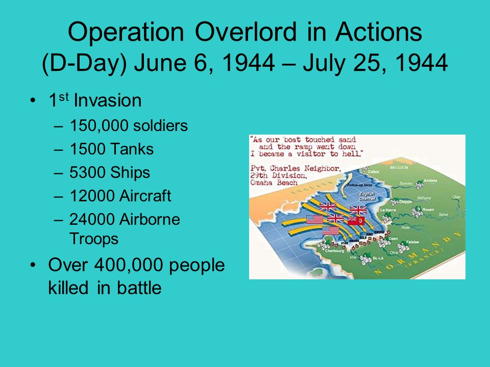 Operation Overlord in Actions (D-Day) June 6, 1944 – July 25, 1944
