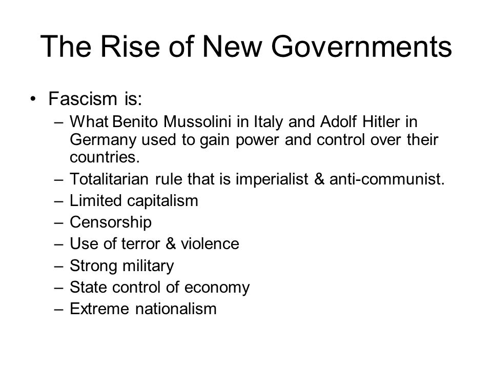The Rise of New Governments