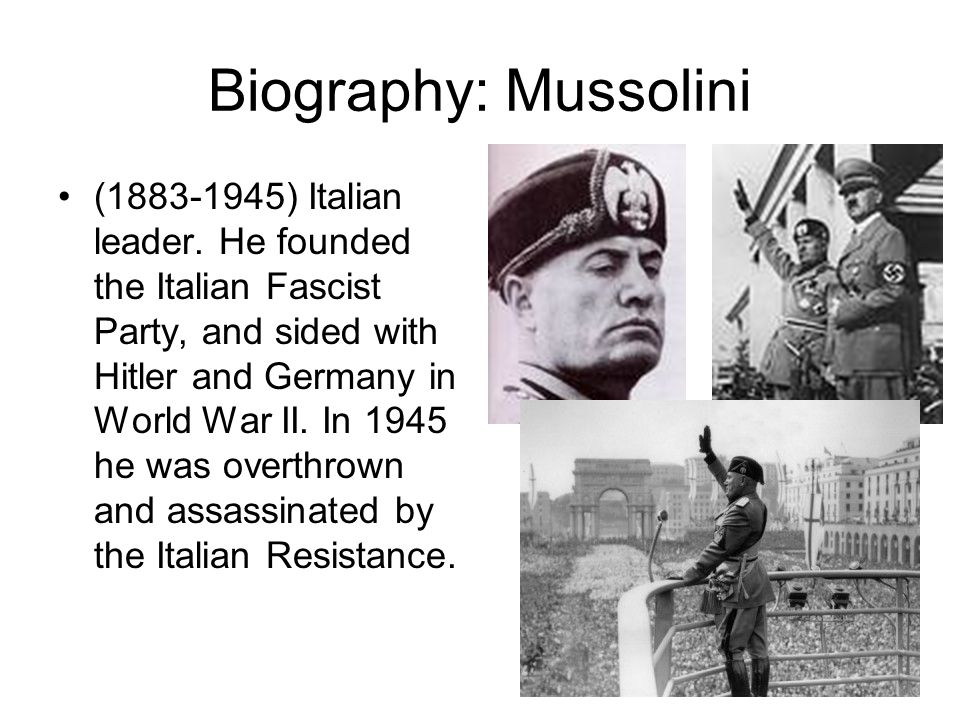 Biography: Mussolini