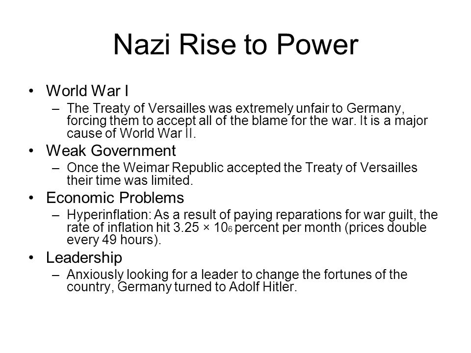 Nazi Rise to Power World War I Weak Government Economic Problems