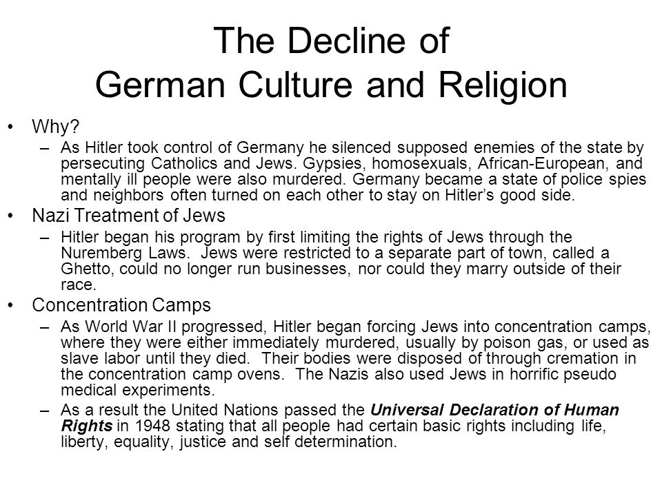 The Decline of German Culture and Religion