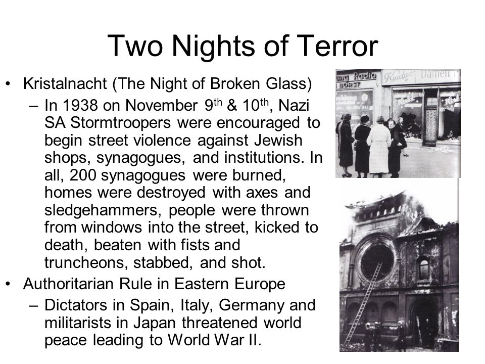 Two Nights of Terror Kristalnacht (The Night of Broken Glass)