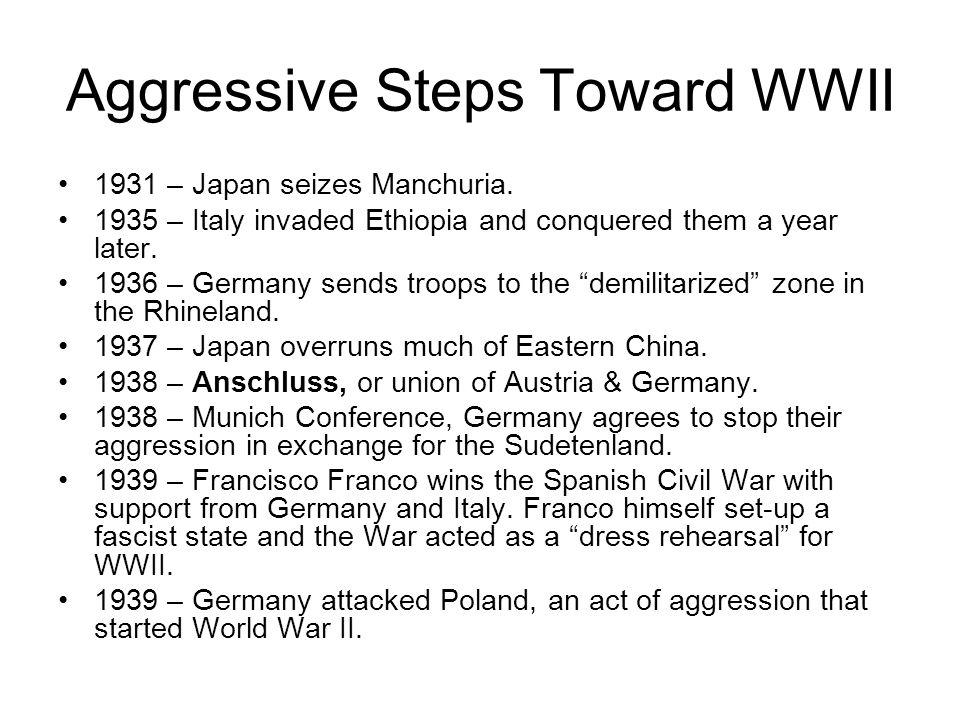 Aggressive Steps Toward WWII