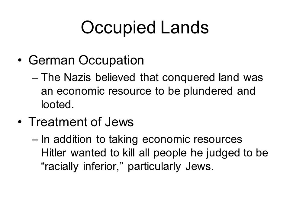 Occupied Lands German Occupation Treatment of Jews