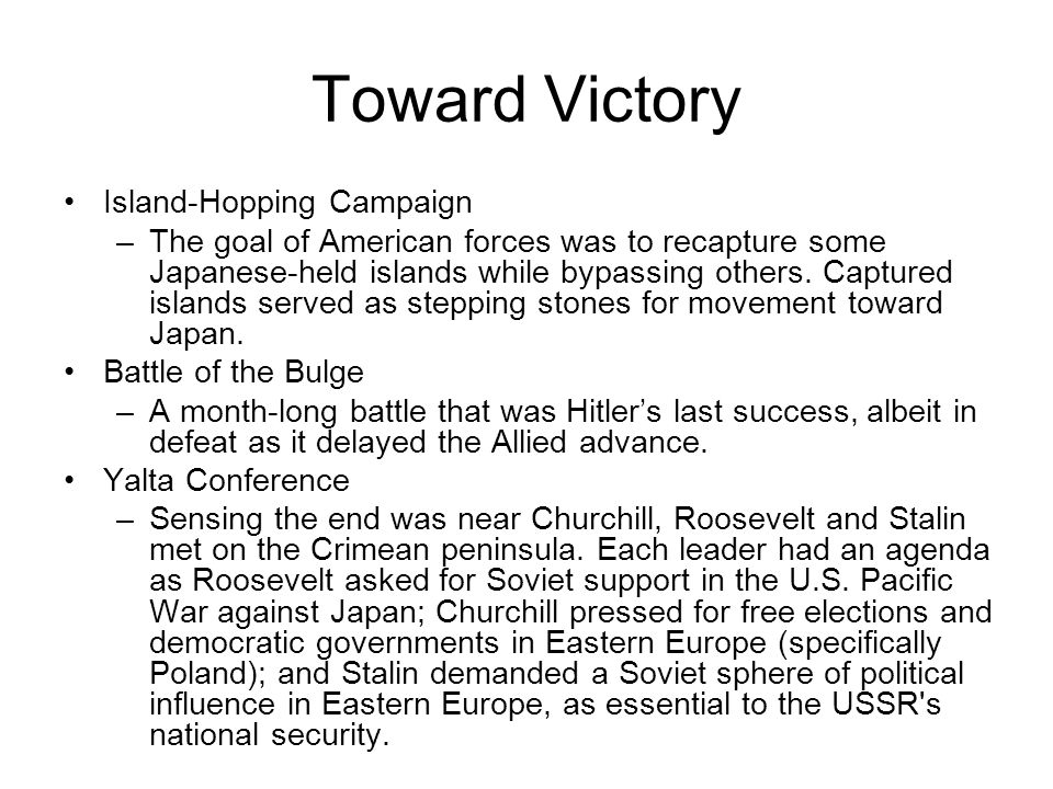 Toward Victory Island-Hopping Campaign
