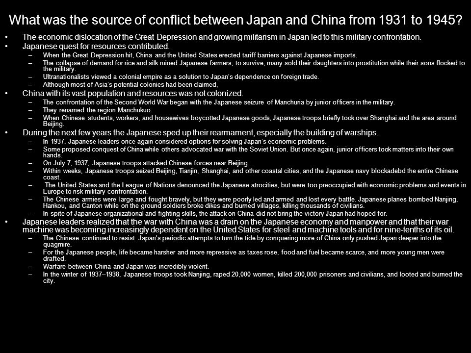 What was the source of conflict between Japan and China from 1931 to 1945