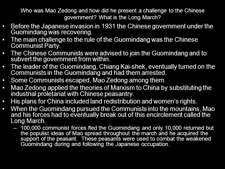 Some Communists escaped, Mao Zedong among them.