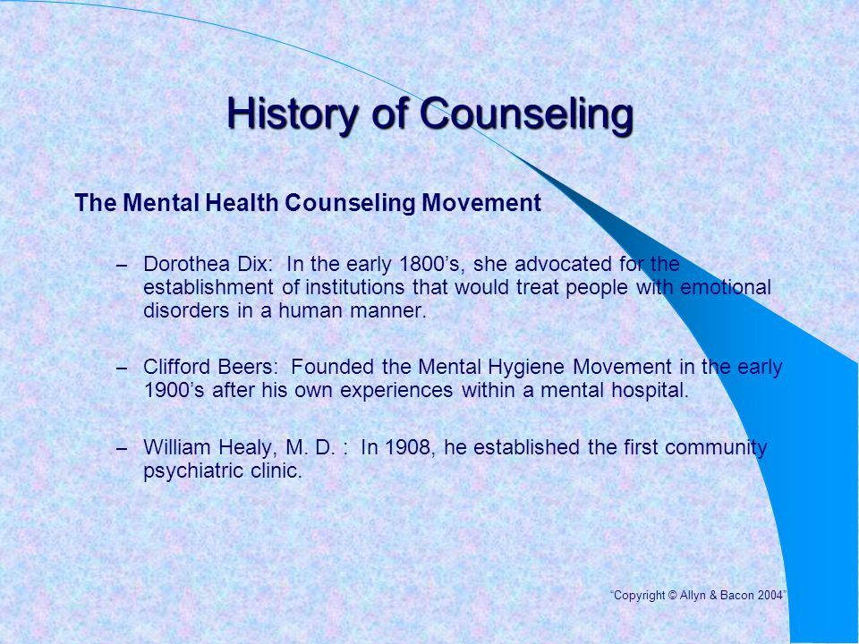 History of Counseling The Mental Health Counseling Movement