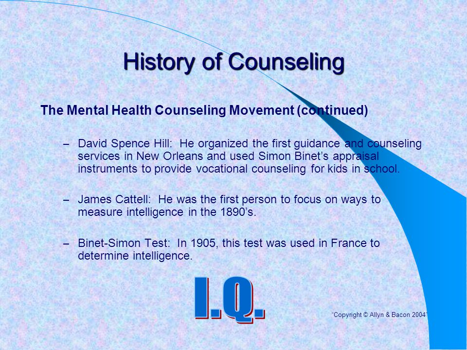 History of Counseling I.Q.