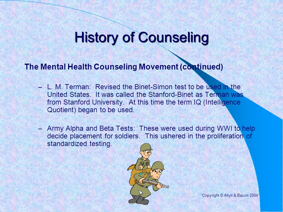 History of Counseling The Mental Health Counseling Movement (continued)