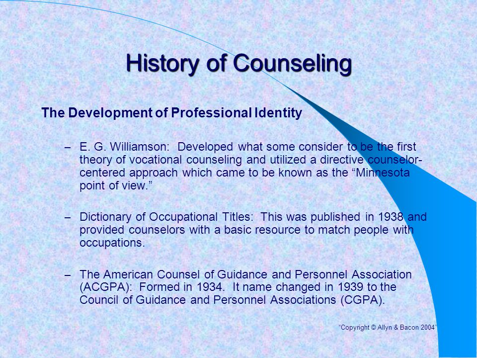 History of Counseling The Development of Professional Identity