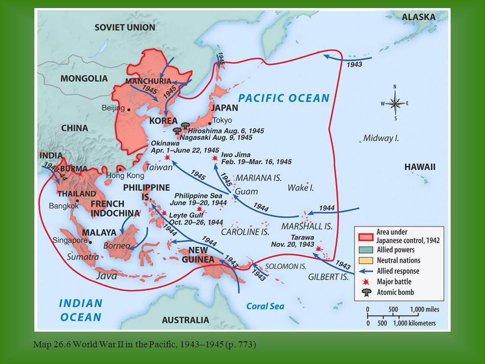 Map 26.6 World War II in the Pacific, 1943–1945 (p. 773)